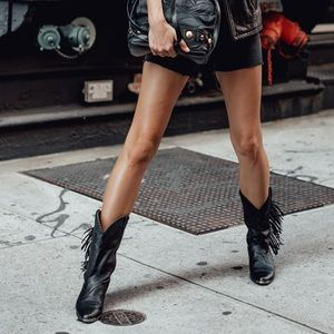 Black fringed ACME leather cowboy boots